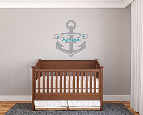 Custom Name Personalize Colors Anchor Nautic Sea Marine Nursery Kids Room Bedroom Wall Decal Sticker Vinyl (36x34(Big))