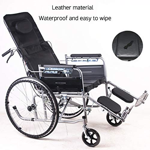- HEIFEN Folding Wheelchair, Semi-Recumbent Travel Wheelchair, Portable, Solid Airless Tire, Handicapped Portable Push Scooter, Padded Cushion, Widened Wheelchair Leather
