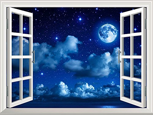Removable Wall Sticker Wall Mural Super Moon in Starry Sky with Clouds and Sea Creative Window View Wall Decor