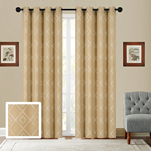 Fancy Collection Set of 2 Panels Curtain Embroidery Geometric Jacquard Curtain,108