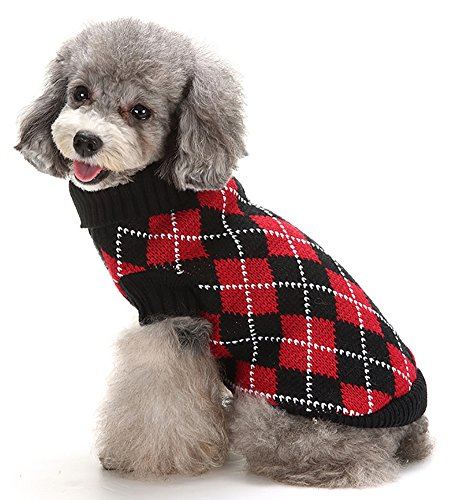 Red Argyle Dog Sweater - MaruPet Puppy Dog Ribbed Knit Sweater Knitwear Turtleneck Contrast Argyle Kintted Doggie Hoodies Apparel for Small Dog Red/Black S