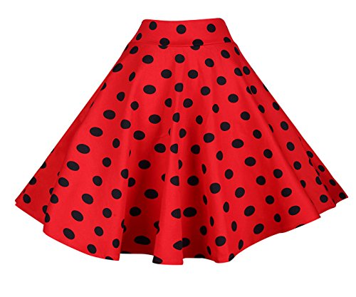 (BI.TENCON Wome's Retro Red and Black Dot High Waisted Vintage Party Skirts Plus Size XL)