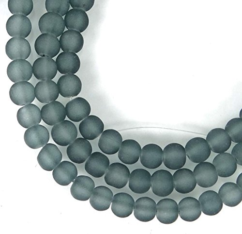 100 Czech Frosted Grey Sea Glass Round/Rocaille Beads Matte - Gray 4mm, Beading, Jewelry Making, DIY Crafting, Arts & Sewing by Perfect Beeds Store