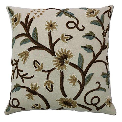 Kashmir Grapes Hand Embroidered Wool on Cotton Crewel Pillow NAQASH ()