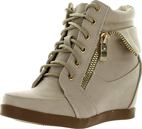 [Lucky Top Girls Peter30 Kids Fashion Leatherette Lace-Up High Top Wedge Sneaker Bootie,Beige,3] (Lucky Platform Shoes)
