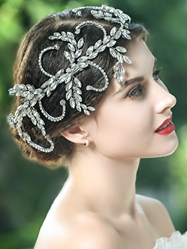 - Yean Wedding Headband Bling Rhinestones Bridal Hair Vine Accessories for Bride and Bridesmaid (Silver)