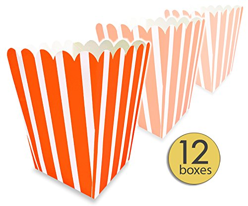 AoneFun 12 Pk - Orange Popcorn Boxes Colorful - Small - Striped Popcorn Boxes - Candy Containers - Favor Boxes - Carnival - Movie Night - Great for Halloween Bulk Value Pack -