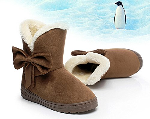 Bumud Womens Winter Suede Snow Ankle Boots Faux Fur Flat Shoes Coffee LxotwnG