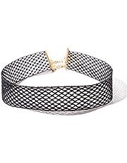QIYUN.Z Women Black Lace Choker Elastic Stretch Tattoo Ribbon Exact Fit Chain Necklace