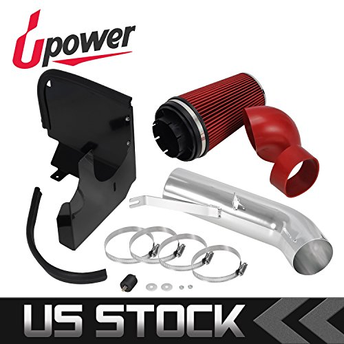 (Upower Cold Air Intake Kit Red w/steel shield & filter Help Increase horsepower Replacement for Chevy V8 4.8L/5.3L/6.0L Replacement for GMC V8 4.8L/5.3L/6.0L)