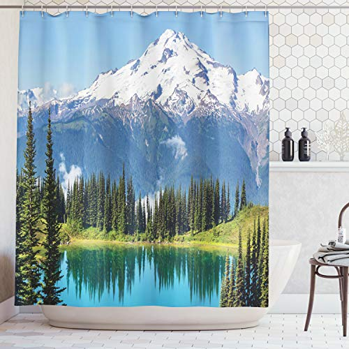 State Shower Curtain Washington - Ambesonne Cottage Decor Collection, Scenery of Image Lake and Snowy Glacier Peak in Washington USA with Tall Pine Tree Forest, Polyester Fabric Bathroom Shower Curtain, 75 Inches Long, White Green