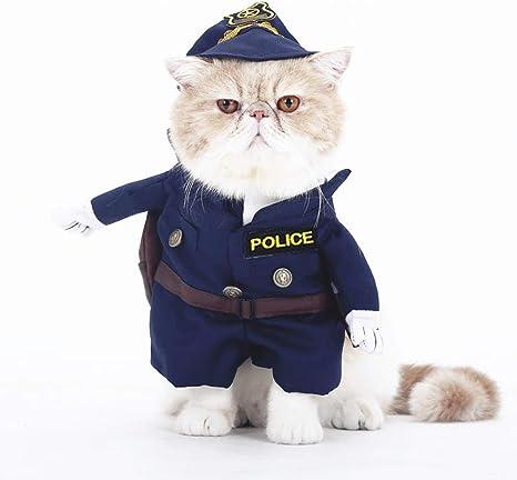 smalllee de la Suerte Store Gato Perro policía Disfraz Ropa para ...