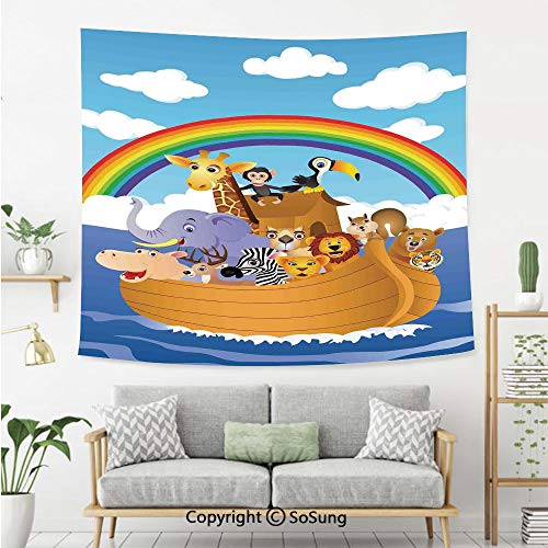 SoSung Noahs Ark Wall Tapestry,Cartoon Style Group of Animals in Noahs Ark Childish Cheering Design Artwork,Bedroom Living Room Dorm Wall Hanging,60X50 Inches,Multicolor