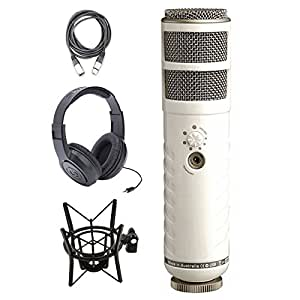 rode podcaster usb dynamic microphone with shock mount headphone and xlr cable. Black Bedroom Furniture Sets. Home Design Ideas