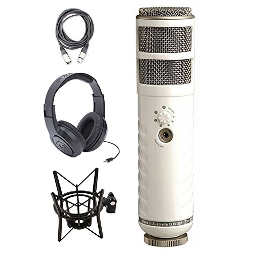 Rode Podcaster USB Dynamic Microphone with Shock Mount, Headphone and XLR Cable by eStudioStar