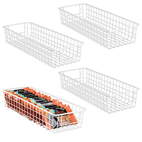 mDesign Household Wire Drawer Organizer Tray, Storage Organizer Bin Basket, Built-In Handles - for Kitchen Cabinets, Drawers, Pantry, Closet, Bedroom, Bathroom - 16