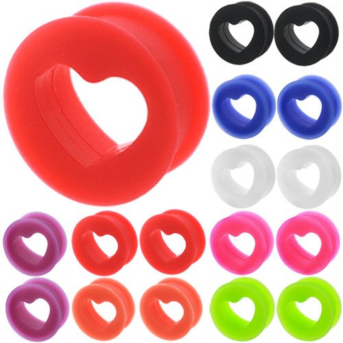 Gauges Flesh Tunnels Screw Silicone Coloured Double Flare Flared Ear Plugs Gauges Stretcher Expander Silicone Body Piercing Jewelry Wholesale lot set Ear Plug Earlets G Gauge Expanders Ears Earring Earrings Pair Black White Blue Red Green Orange Pink Purple (0g = 8mm) ()