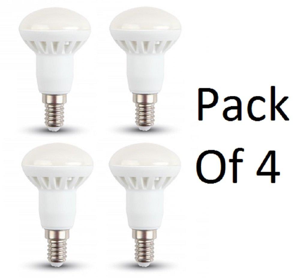 4243 Lot de 4 ampoules LED à réflecteur R50 non-graduables Faisceau 120 degrés Durée de vie 2000 heures Blanc chaud 3000 K 6 W 400 lm 230 v