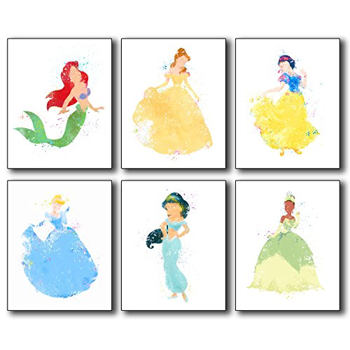 Disney Princess Watercolor Wall Art Poster Prints - Set of 6 (8 inches x 10 inches) Photos - Ariel Belle Snow White Cinderella Jasmine and Tiana! -