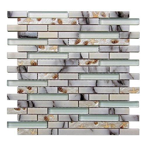Art3d Decorative Tile Starfish and Conch Mosaic Tile for Kitchen Backsplash or Bathroom Backsplash (5 Pack) - Grout Glass Mosaic Tile