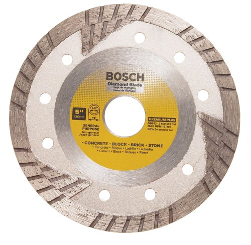 Bosch DB563 Premium Plus 5-Inch Dry Cutting Turbo Continuous Rim Diamond Saw Blade with 7/8-Inch Arbor for Masonry (Diamond Plus Blade Premium)