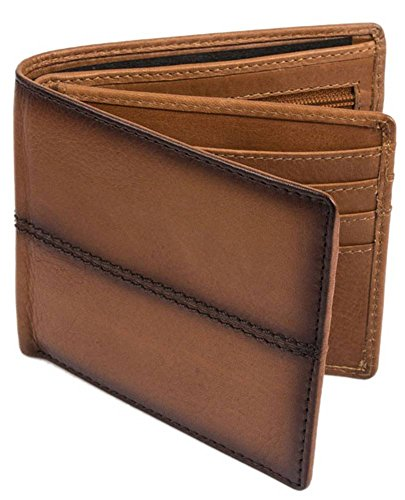 Leather Mens Tan Stiched Bifold and Dents Casual Coin Wallet wSqwE