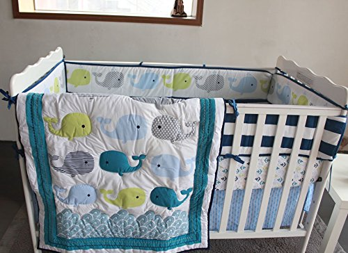 NAUGHTYBOSS Unisex Baby Bedding Set Cotton 3D Embroidery Ocean Whale Quilt Bumper Bed Skirt Mattress Cover Blanket 8 Pieces Ocean Blue by NAUGHTYBOSS (Image #2)