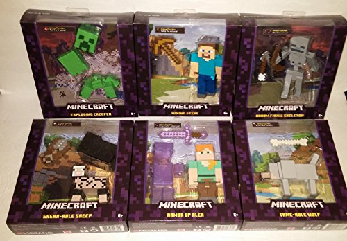 "Minecraft Survival Mode 5"" figure Complete Set Armor Up Alex, Mining Steve, Exploding Creeper, Arrow Firing Skeleton, Tame-Able Wolf, Shear-Able Sheep"