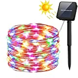 Solar String Lights, 100 LED Solar Fairy Lights 33 feet 8 Modes Copper Wire Lights Waterproof Outdoor String Lights for Garden Patio Gate Yard Party Wedding Indoor Bedroom (Multicolor)