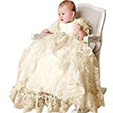Newdeve Short Sleeve White Lace Christening Baptism Dresses Long With Cap (3-6 Months, Ivory)
