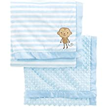 Simple Joys by Carter's Baby Boys' 2-Pack Plush Blankets, Blue, One Size