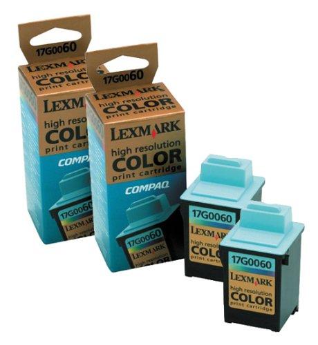 Lexmark #60 Standard Yield Color Ink Cartridge Dual Pack, 2 Pack of OEM# 17G0060, 2 x 205 Yield (16G0096)