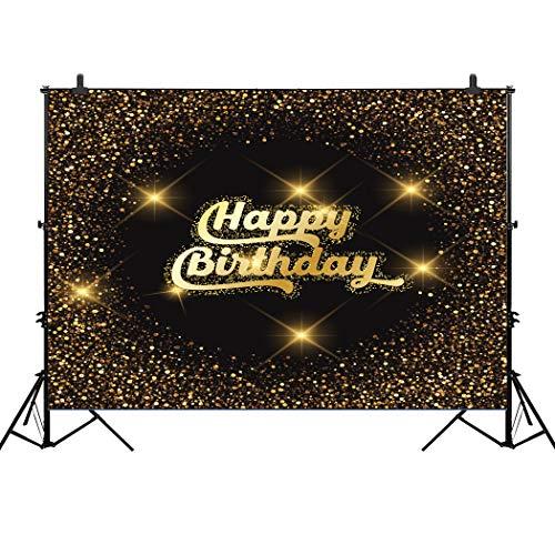 (CapiSco 5X3FT Vinyl Gold Glitter Photography Background Happy Birthday Party Photography Backdrops Props for Photo Studio SCO05)