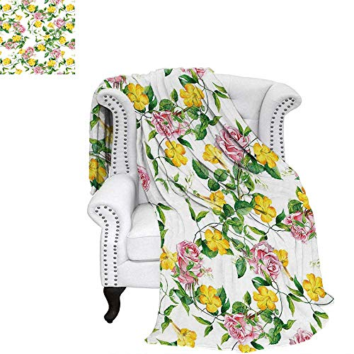 WilliamsDecor Yellow Flower Blanket Flourishing Bindweed and Pink Roses Leaves Botanical Nature Warm Microfiber All Season Blanket 80