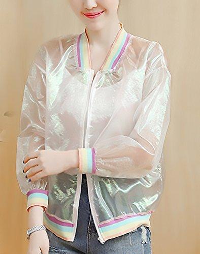 Trasparente Baseball Solare Primaverili Giacche Manica Cute Protezione Sciolto Zip Giacca Jacket Casual Outdoor Bianca Lunga Donna Con Giubbotto Bomber Chic Estate x0w1T5UUq