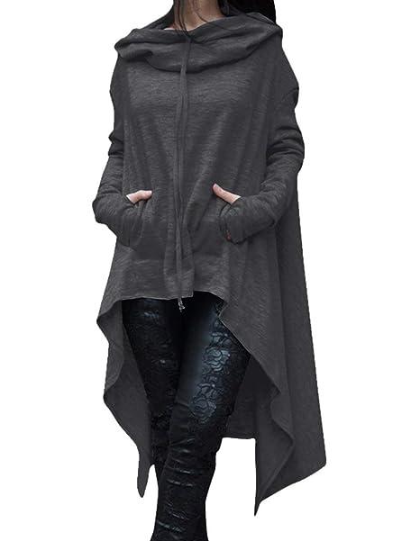 Sudaderas Otoño Invierno Mujer Sudadera Largos Streetwear Swag Sencillos Plus Size Colores Sólidos Vestidos Hoodie Alto Bajo Irregular Sudaderas con Capucha ...