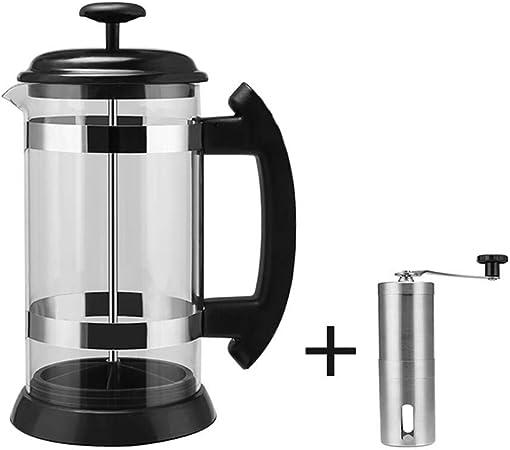 Cafeteras de émbolo Método 1000ml Cafetera Presión del calderín francesa Filtro Prensa Pot resistente al calor percolador del café de cristal del té Pot taza del filtro, Negro 1000ML + amoladora: Amazon.es: