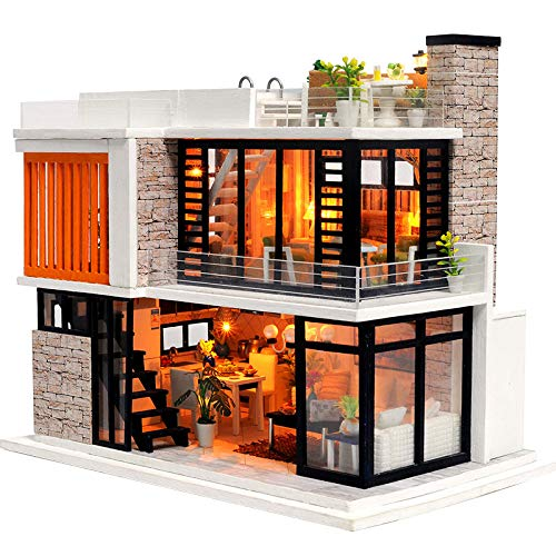 - Spilay Dollhouse Miniature with Furniture,DIY Dollhouse Kit Mini Modern Villa Model with Music Box ,1:24 Scale Creative Doll House Best Christmas Birthday Gift for Lovers Boys and Girls(Florence)