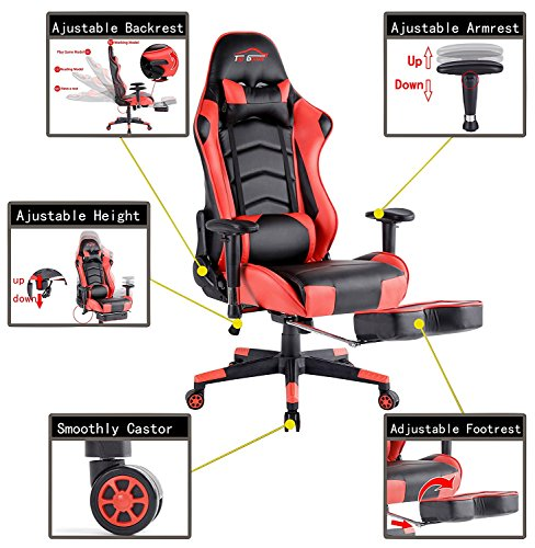 Top Gamer Gaming Chair PC Video Game Chairs For Computer With Footrest(Red)  Top ...