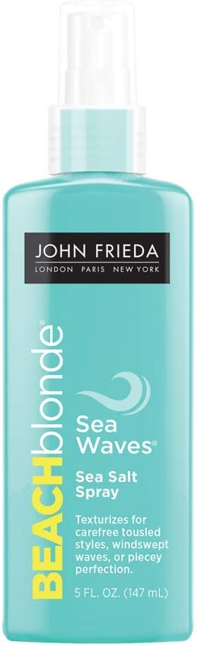 John Frieda Beach Blonde Sea Waves Salt Spray, 5 Ounce Wave Texturizing Spray, with Natural Sea Salt to Enhance Wavy Hair for Tousled Volume
