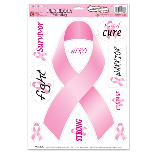 Beistle 54460 Pink Ribbons Peel 'N Place Sheet, 12 by 17-Inch