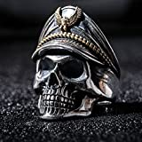 World War II Commemorative Ring of Honour Undead Army Officer Skull Mens Ring#by pimchanok shop (8)