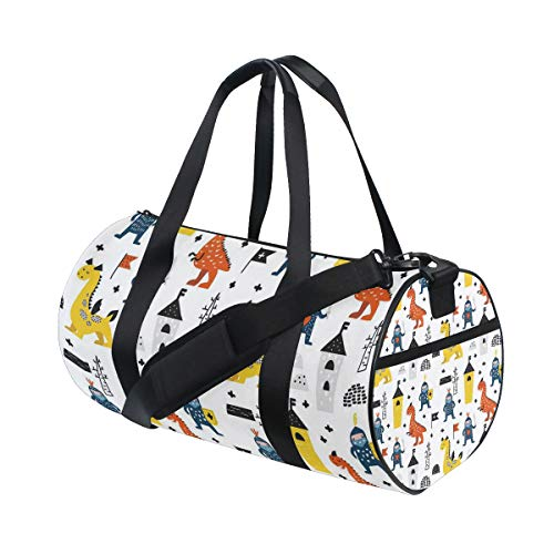 ALLMILL Lightweight Duffle bag Hand Drawn Seamless Pattern Dragons Knights Gym bags Oversize Sports bags weekend Overnight Travel handbag for men women student