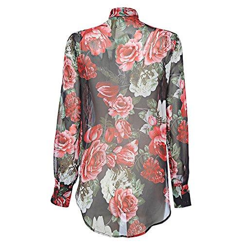 Da Moda Stampato E Lunghe Rosa Allacciatura In Camicia Donna Maniche Stile Comodo Camicetta V Nero Collo Floreale npFgOx0w
