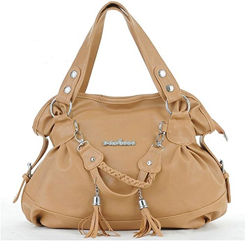 TM Shoulder Holder BBG Handle Women's Card Leather Tote Style Hobo Beige with Top Bags S Tassel Handbags 1x5AYqnwq