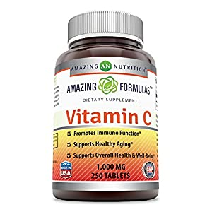Amazing Formulas Vitamin C 1000 Mg, Tablets Non GMO, Vegan Promotes Immune Function* Supports Healthy Aging* Supports Overall Health & Well Being* (250 Count)