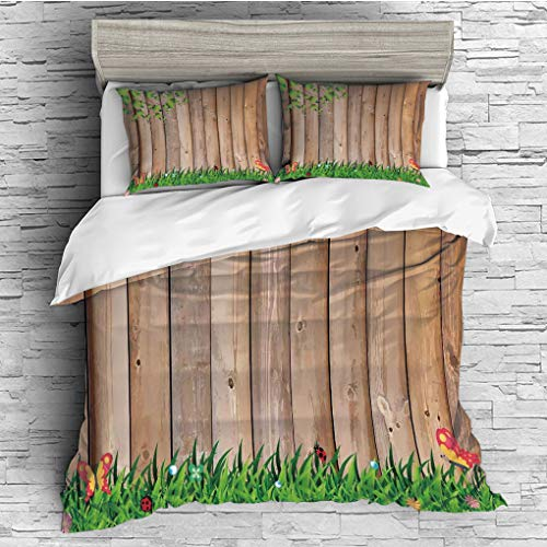 3 Pieces (1 Duvet Cover 2 Pillow Shams)/All Seasons/Home Comforter Bedding Sets Duvet Cover Sets for Adult Kids/Double/Farm House Decor,Fresh Spring Season Jardin with Butterflies and Ladybugs in Park ()