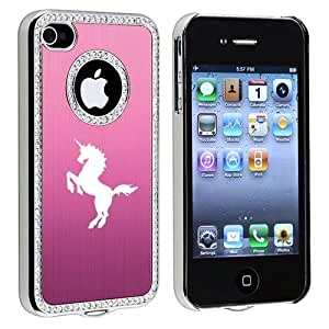 Apple iPhone 4 4S 4G Pink S1545 Rhinestone Crystal Bling Aluminum Plated Hard Case Cover Unicorn