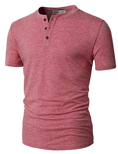 (H2H Men Henley Neck Long Sleeve Daily Look Linen Shirts Pink US 3XL/Asia 4XL (CMTTS0203))