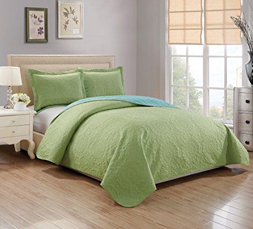 RT Designers Collection Quilt Set Lexington 3-Piece Reversible, Queen, Apple Green/Aqua
